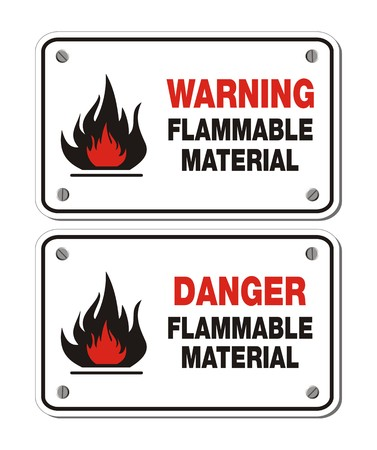 flammable warning: rectangle signs - warning and danger flammable material