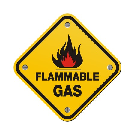 flammable: yellow sign - flammable gas