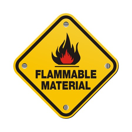 flammable: yellow sign - flammable material