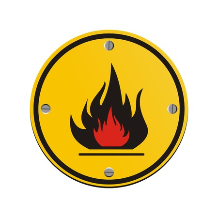 flammable round yellow sign Illustration
