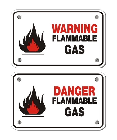 flammable warning: rectangle signs - warning and danger flammable gas
