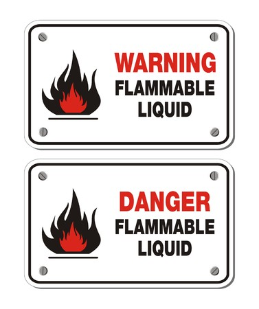 flammable warning: rectangle signs - warning and danger flammable liquid Illustration