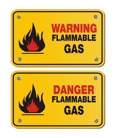 flammable warning: rectangle yellow signs - warning and danger flammable gas
