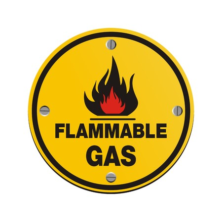 flammable: round sign - flammable gas