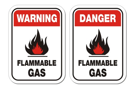 flammable materials: warning and danger flammable gas signs Illustration