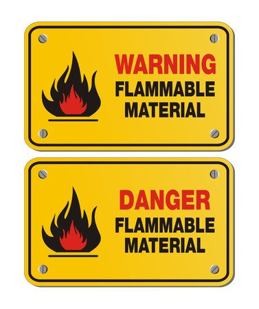 flammable warning: rectangle yellow signs - warning and danger flammable material