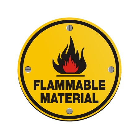 flammable: round sign - flammable material