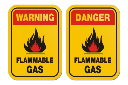 triangular warning sign: warning and danger flammable gas yellow signs