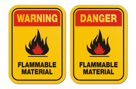 burnable: waning and danger flammable material yellow signs Illustration