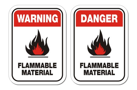 burnable: warning and danger flammable material signs