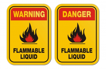 flammable warning: warning and danger flammable liquid yellow signs Illustration
