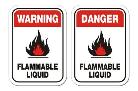 inflammable: warning and danger flammable liquid signs Illustration