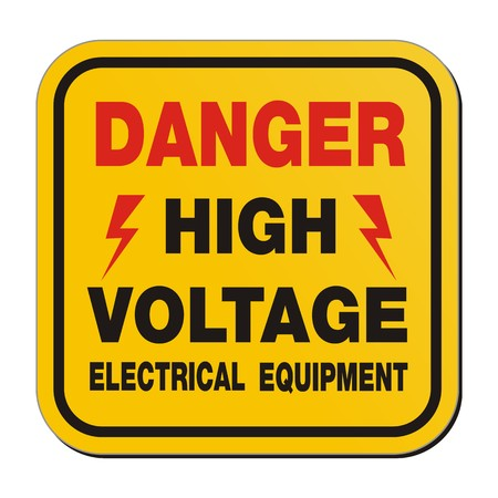 danger high voltage electrical equipment - yellow sign Illustration