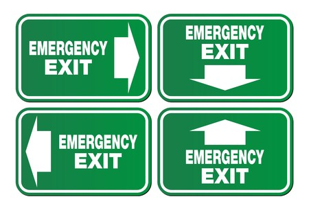 green exit emergency sign: emergency exit signs - green sign