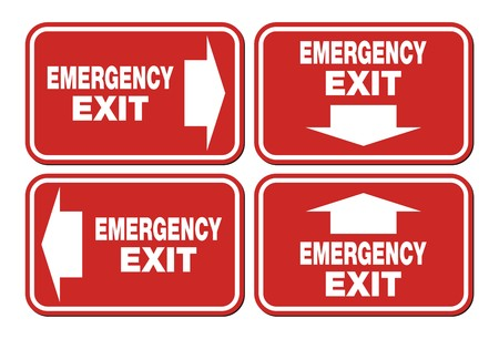 green exit emergency sign: emergency exit signs - red sign Illustration