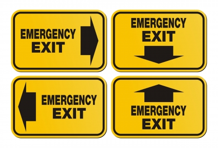 green exit emergency sign: emergency exit signs - yellow sign Illustration