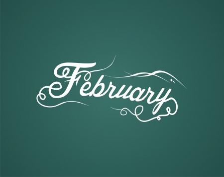 february hand lettering Illustration