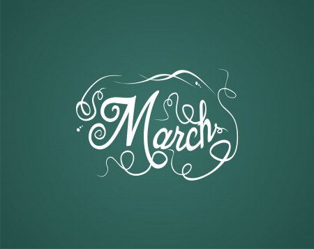 yearly: march hand lettering Illustration