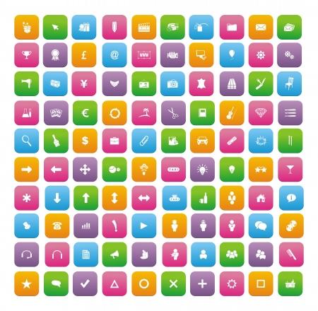 100 flat style icon sets Illustration