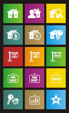 real estate metro style icons Vector