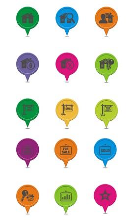 for rent sign: set of real estate map pointer Illustration