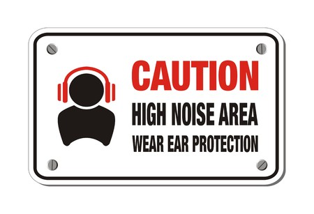 ear phones: high noise area, wear ear protection - caution sign Illustration