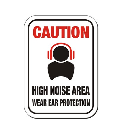 caution high noise area sign Vector