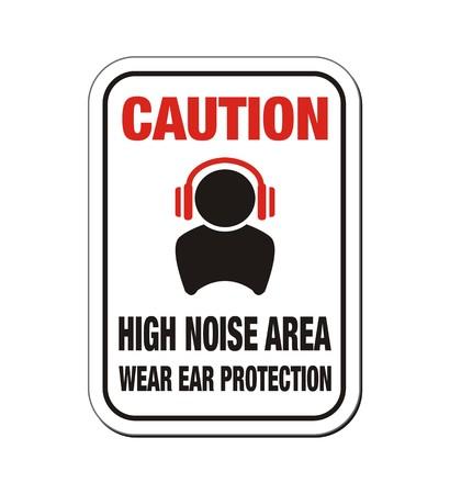 ear phones: caution high noise area sign Illustration