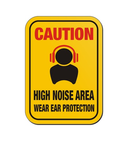 loud speaker: caution high noise area - yellow sign
