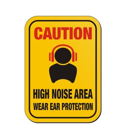 Precaución zona de alto ruido - cartel amarillo Foto de archivo - 24560445