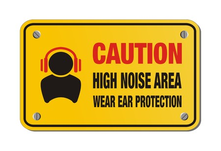 caution high noise area, wear ear protection - yellow sign Illustration