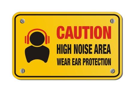 voorzichtigheid hoge geluidsniveaus gebied, gehoorbescherming te dragen - geel bord