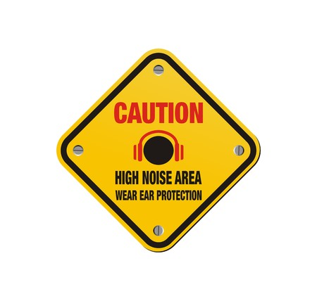 caution sign: zona ad alto rumore - segno cautela