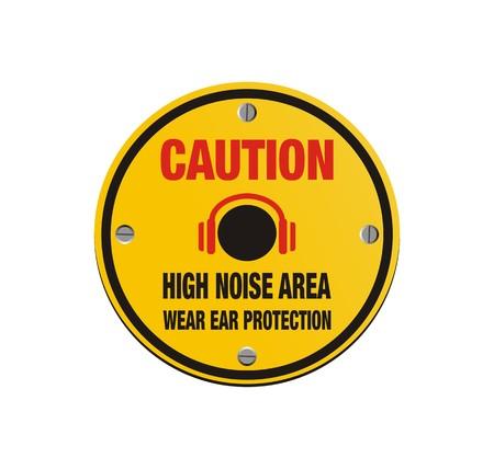 ear phones: caution high noise area - circle sign