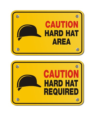 industrial icon: caution hard hat area signs - rectangle yellow signs