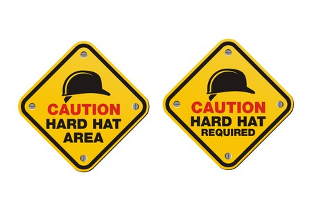 hard worker: hard hat signs - square signs