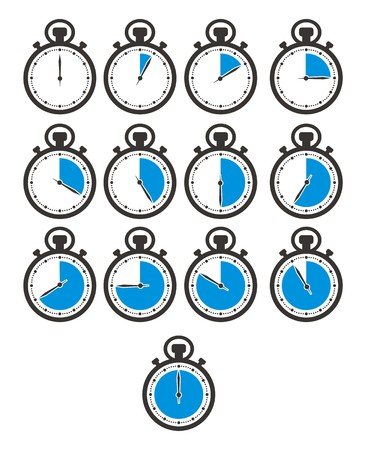 times icon sets - stop watch, blue colour