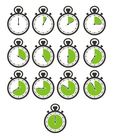 times icon sets - stop watch, green colour