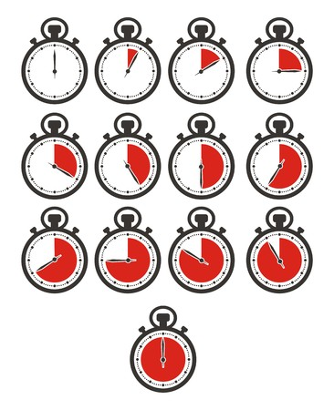 stop time: timer icon sets - stop watch, red colour