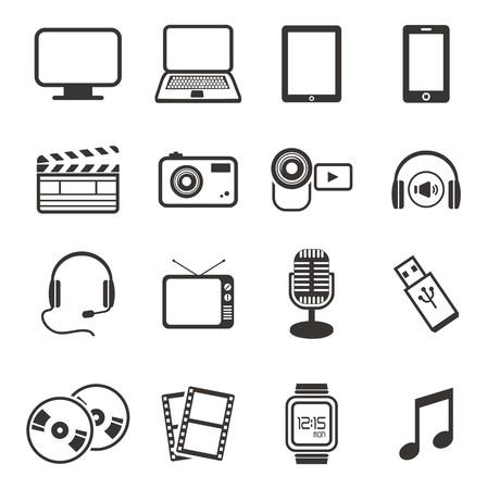 multimediali set di icone Vettoriali