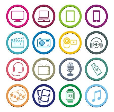 flashdisk: multimedia circle icon sets Illustration