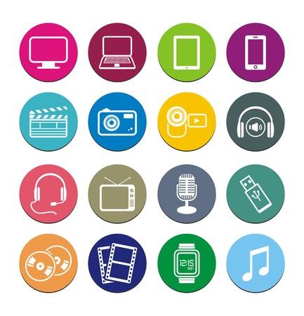 multi-media round icon sets 向量圖像