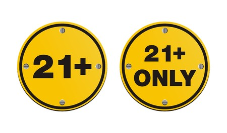 21 plus round yellow signs Vector