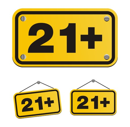 21 plus yellow signs Vector
