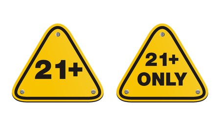 21 plus triangle yellow signs Vector
