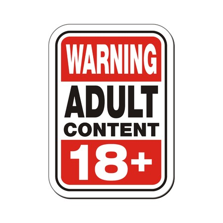 warning adult content 18 plus sign Illustration