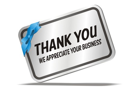 element for design:  thank you we appreciate your business - silver card