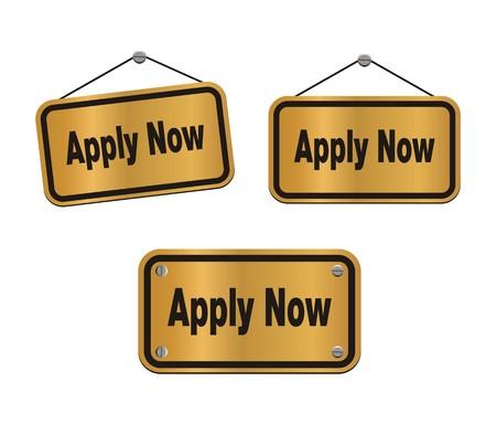 apply now - bronze signs Stock Vector - 25998350