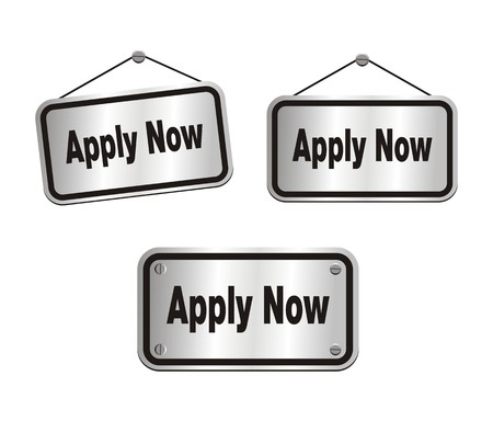 became: apply now - silver signs