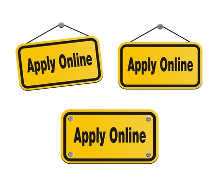 became: apply online - yellow signs Illustration